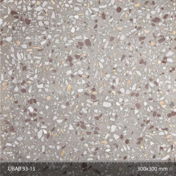 Terrazzo 33:15. Gråcement-terrazzo med vit ballast och inslag av ljus, tysk Lahn-marmor och mörkare, gul Giallo di Siena-marmor från Toscana.
