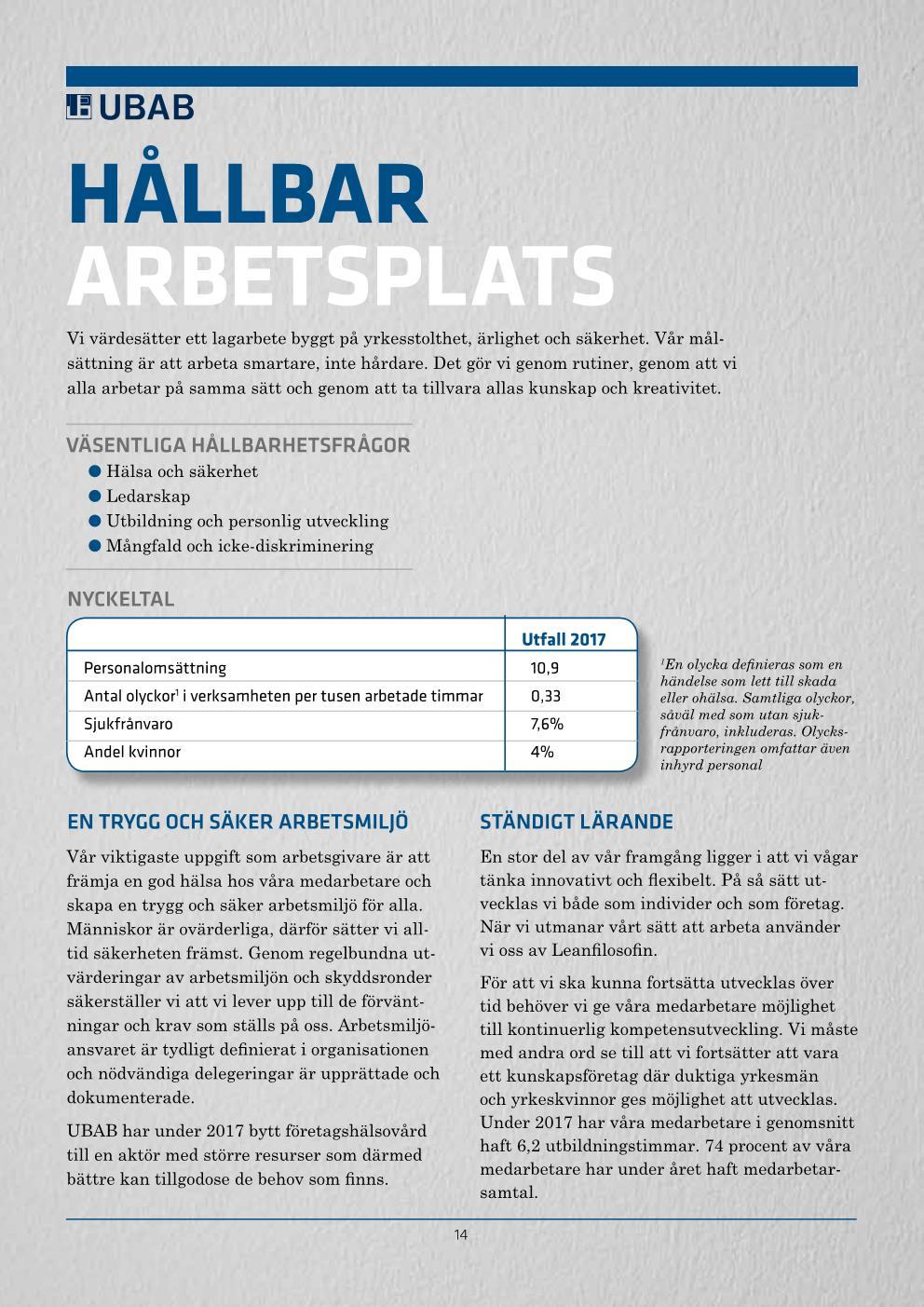 UBAB Hållbarhetsredovisning 2018_webres Sida 014