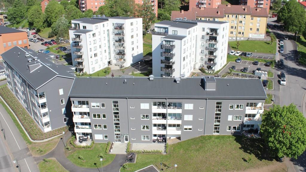 Flyfoto över brf Solrosen i Borås