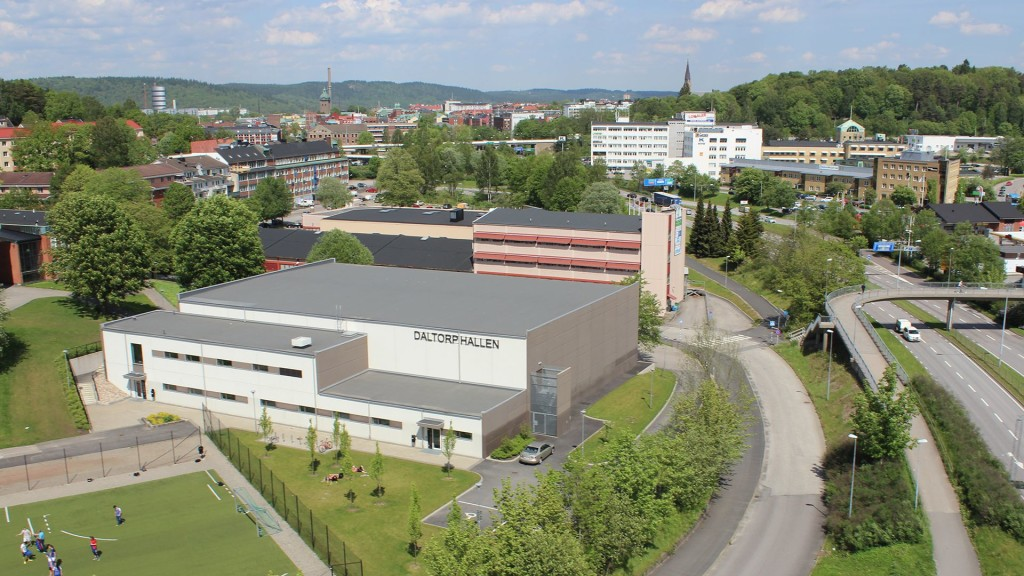 Daltorpshallen i Borås från ovan