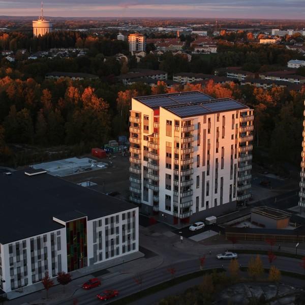 P-hus Rotegatan i Linköping från ovan